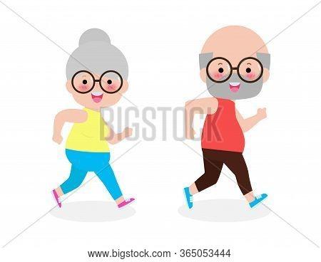 Vector Illustration Of Cartoon Running Old Woman, Man. Cartoon Character. Old People Activity. Vecto