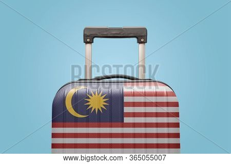 Suitcase With Malaysian Flag Design Travel Asia Concept.