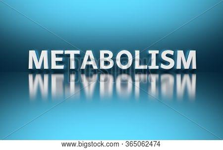 White Bold Word Metabolism On Blue Shiny Reflective Background. 3d Illustration.