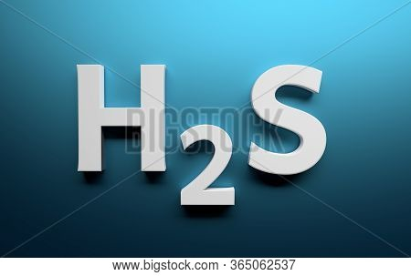 Chemical Structure Of Hydrogen Sulfide Written In White Bold Letters On Blue Background. 3d Illustra