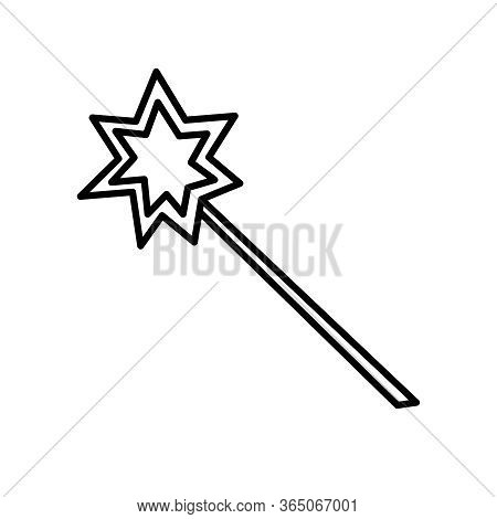 Magic Wand Contour Icon. Tool Of A Sorceress, Fairy, Magician, Illusionist. Vector Symbol Design Ele