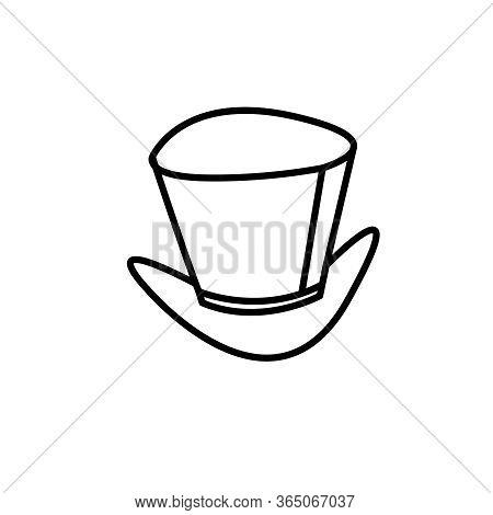 Icon Of Cylinder, Top Hat Of Magician. Contour Vector Symbol Of Magic, Magician, Gentleman, Aristocr