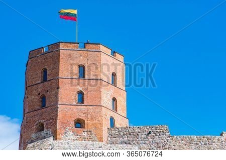 Vilnius, Lithuania - April 30 2020: Gediminas Tower Or Castle, The Remaining Part Of The Upper Medie