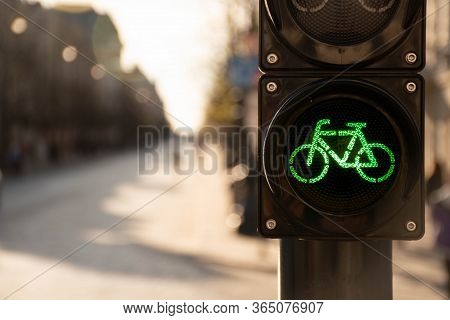 Sustainable Transport. Bicycle Traffic Signal, Green Light, Road Bike, Free Bike Zone Or Area, Bike