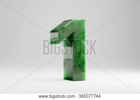Jade 3d Number 1. Jade Number Isolated On White Background. Green Jade Semitransparent Stone Alphabe
