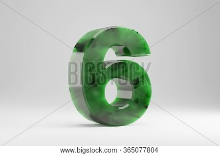Jade 3d Number 6. Jade Number Isolated On White Background. Green Jade Semitransparent Stone Alphabe