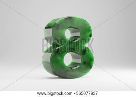 Jade 3d Number 8. Jade Number Isolated On White Background. Green Jade Semitransparent Stone Alphabe