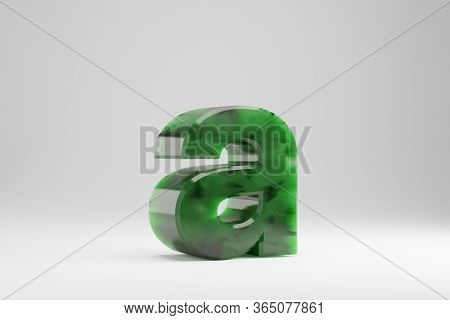 Jade 3d Letter A Lowercase. Jade Letter Isolated On White Background. Green Jade Semitransparent Sto