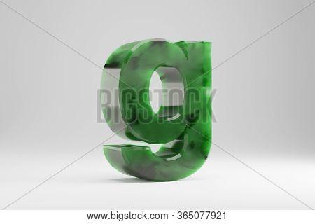 Jade 3d Letter G Lowercase. Jade Letter Isolated On White Background. Green Jade Semitransparent Sto