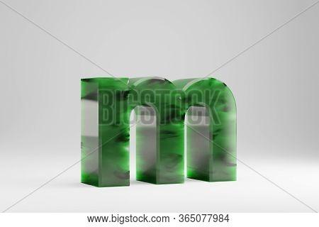 Jade 3d Letter M Lowercase. Jade Letter Isolated On White Background. Green Jade Semitransparent Sto