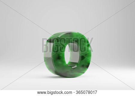 Jade 3d Letter O Lowercase. Jade Letter Isolated On White Background. Green Jade Semitransparent Sto
