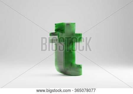 Jade 3d Letter T Lowercase. Jade Letter Isolated On White Background. Green Jade Semitransparent Sto