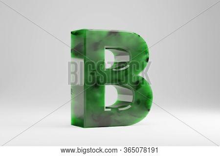 Jade 3d Letter B Uppercase. Jade Letter Isolated On White Background. Green Jade Semitransparent Sto