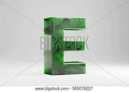 Jade 3d Letter E Uppercase. Jade Letter Isolated On White Background. Green Jade Semitransparent Sto