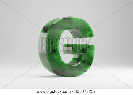 Jade 3d Letter G Uppercase. Jade Letter Isolated On White Background. Green Jade Semitransparent Sto
