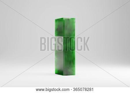 Jade 3d Letter I Uppercase. Jade Letter Isolated On White Background. Green Jade Semitransparent Sto