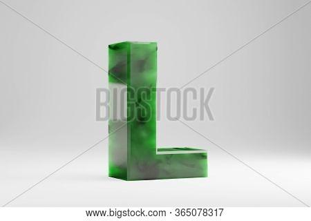 Jade 3d Letter L Uppercase. Jade Letter Isolated On White Background. Green Jade Semitransparent Sto