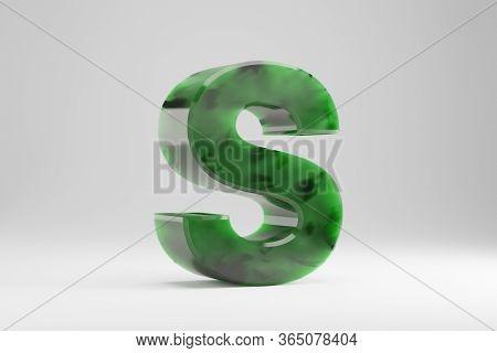 Jade 3d Letter S Uppercase. Jade Letter Isolated On White Background. Green Jade Semitransparent Sto