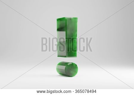 Jade 3d Exclamation Symbol. Jade Sign Isolated On White Background. Green Jade Semitransparent Stone