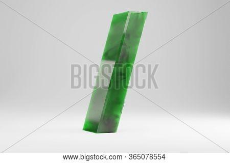 Jade 3d Forward Slash Symbol. Jade Sign Isolated On White Background. Green Jade Semitransparent Sto