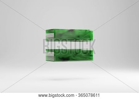 Jade 3d Equals Symbol. Jade Sign Isolated On White Background. Green Jade Semitransparent Stone Alph