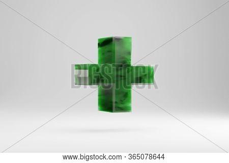 Jade 3d Plus Symbol. Jade Sign Isolated On White Background. Green Jade Semitransparent Stone Alphab