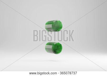 Jade 3d Colon Symbol. Jade Sign Isolated On White Background. Green Jade Semitransparent Stone Alpha