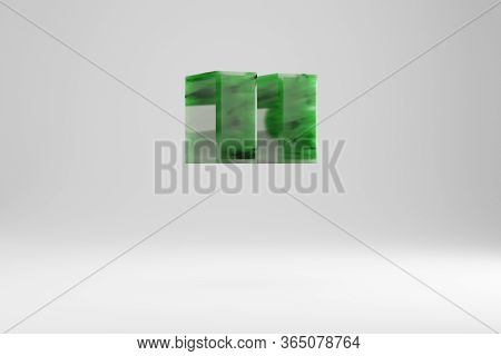 Jade 3d Double Quotes Symbol. Jade Sign Isolated On White Background. Green Jade Semitransparent Sto