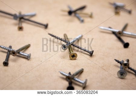 Steel Screws, Metal Screw, Iron Screw, Screws As A Background, Wood Screw. Iron Or Metal Screw Nails