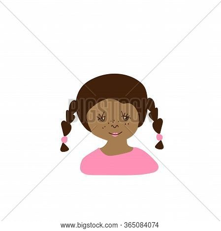Vector Portrait Of A Little Girl In Flat Style. Illustration Of A Child Of Indian Race Appearance By