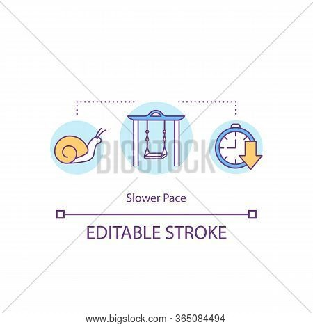 Slower Pace Concept Icon. Stress Relief. Leisure And Recreation. Mental Health. Country Lifestyle Id