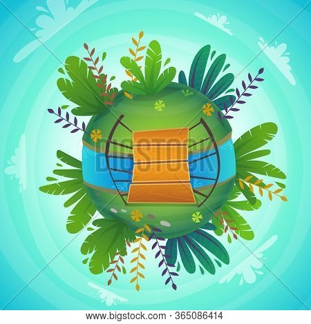 Green Peace Nature , Plants And Flowers Concept . Ecology Concept Illustration . Funny Cartoon Cheer