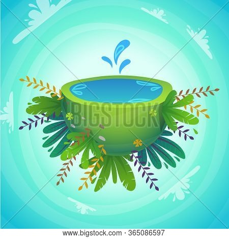 Green Peace Half Planet With Water And Cheerful Plants And Flowers . Waterfall Concept With Splash D