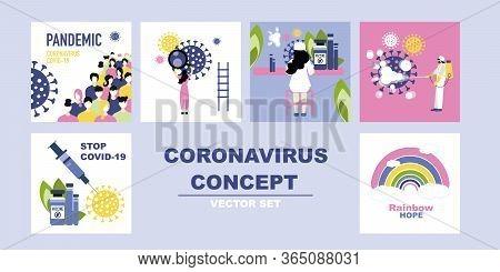 Coronavirus Concept Vector Set, A Fight Between Medics And Scientists With Coronavirus, People Study