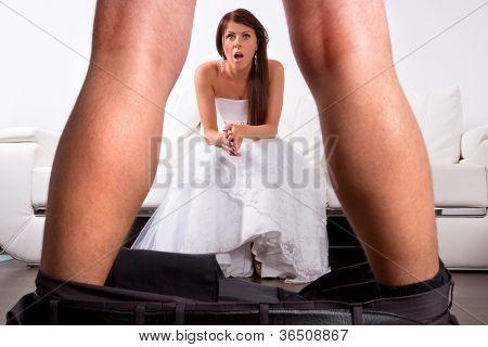 Bride shocked at the groom striptease