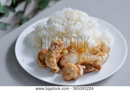 Fried Chinese And Rice On The Table
