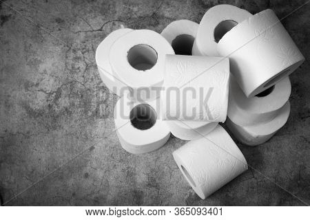 White Soft Toilet Boom Yeah Rolls For Hygiene Personnel On A Gray Background. Stock Of Basic Hygiene
