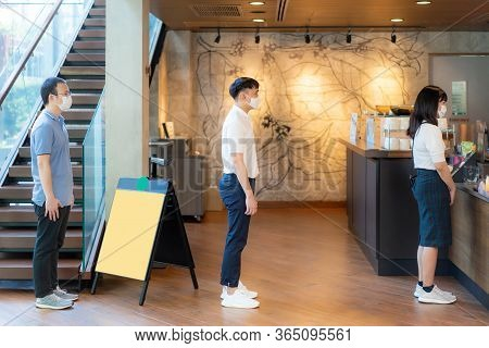 Three Asian People Wearing Mask Standing Distance Of 6 Feet From Other People Keep Distance Protect