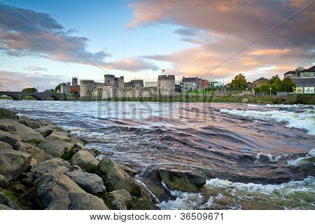 King John Castle at Shannon river in Limerick, Ireland