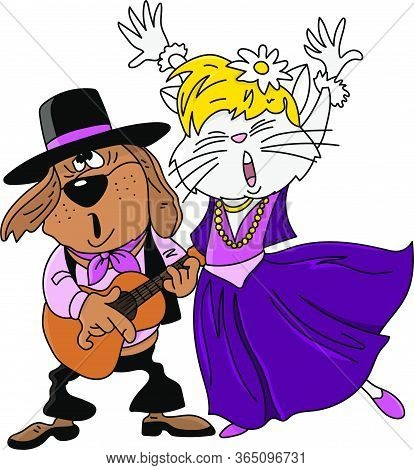 Cartoon Gypsy Animals Singing And Dancing Vector Illustration
