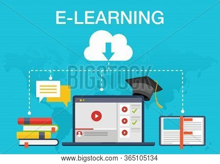 Vector Illustration Of Online Learning. Suitable For Promotion Of E-learning Services, Distance Teac