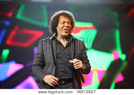 MOSCOW - DEC 17: Pat Ottavan frontman sings on stage of concert of Legend RetroFM in Sports complex Olimpiyskiy, Dec 17, 2011 in Moscow, Russia. Ottavan group is named after Canadian city of Ottawa.