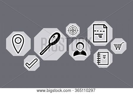 Search Inquiries. Set Of Different Icons On Grey Background