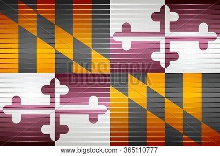 Shiny Grunge Flag Of The Maryland - Illustration,  Three Dimensional Flag Of Maryland