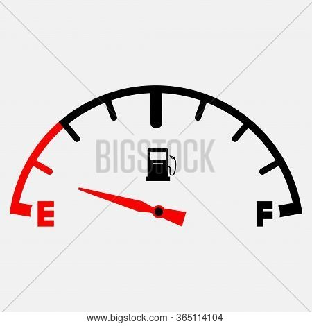 The Concept Of A Fuel Indicator, Gas Meter. Fuel Sensor. Car Dashboard. Vector Illustration On White