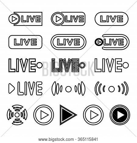 Live Broadcasting Icons Set. Black Flat Symbols And Buttons For Live Broadcast, Tv, Shows, Films And