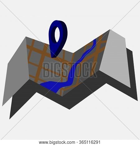 Isometric City Map Navigation, Point Markers Background, 3d Simple City Plan Gps Navigation, Final D