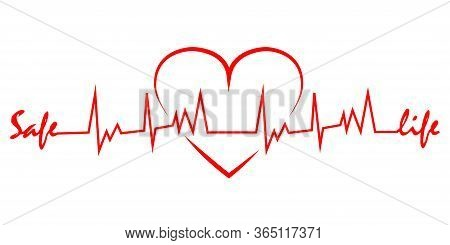 Heartbeat Line With Shape Of Heart. Healthy Electrocardiogram Or Ecg. One Pulse Line With Text Safe