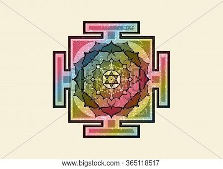 Bagalamukhi Yantra Mandala, Old Colorful Sacred Tibetan Diagram The Vital Energy. Hinduism Bhuvanesh