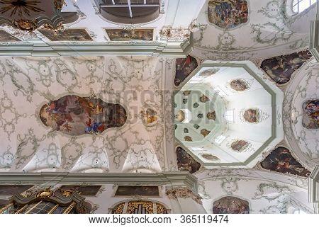 Feb 4, 2020 - Salzburg, Austria: Upward Ultrawide View Of Rococo Floral Mural Fresco Ceiling And Dom